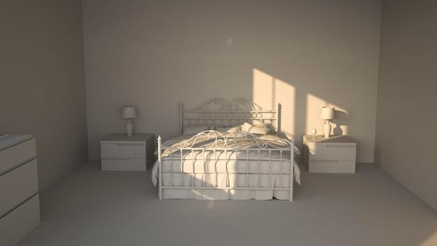 Visualização do quarto. renderização 3d