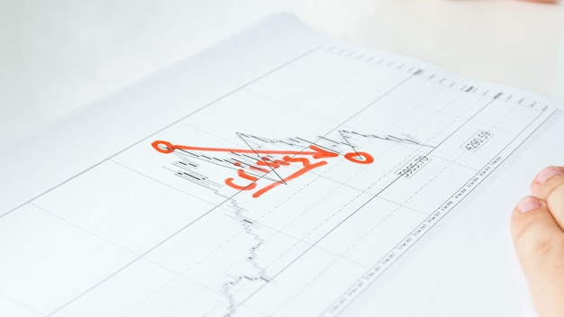 Visualização em close do gráfico ou gráfico de crise financeira