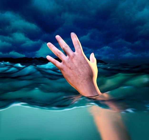 Vítimas de afogamento, mão de homem se afogando precisando de ajuda. ilustração 3d