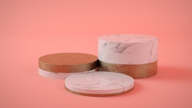 Vitrine de mármore e ouro em fundo rosa renderização 3d