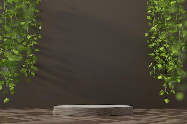 Vitrine de plataforma abstrata para exibição de produtos com ivy renderização em 3d