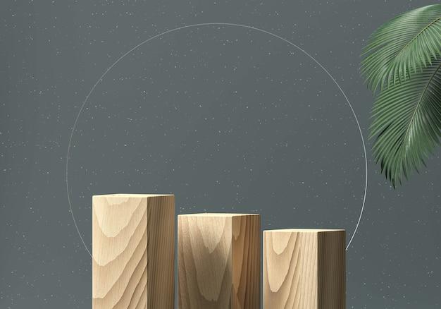 Vitrine de pódio de madeira para produto com folhas de palmeira renderização em 3d