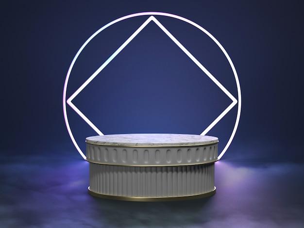 Vitrine de pódio na cena de luz futurismo
