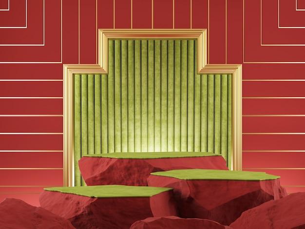Vitrine do produto, cor verde vermelho de pedra com renderização 3d de moldura dourada