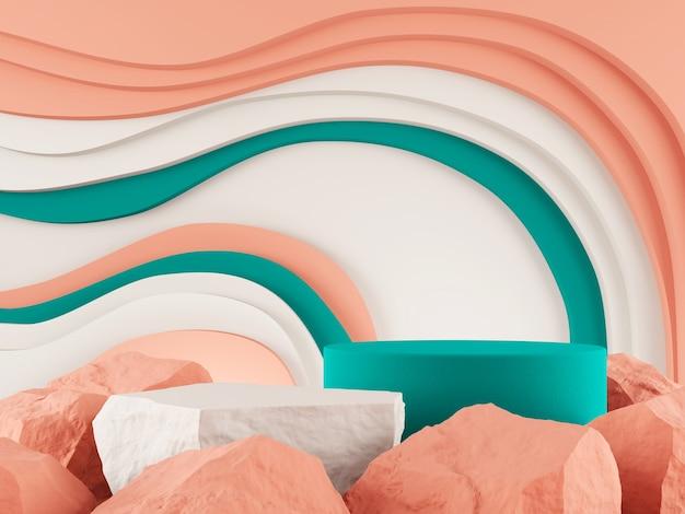 Vitrine do produto pedra flor do deserto tom violeta cor e curva gráfico pano de fundo renderização em 3d