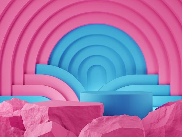 Vitrine do produto pedra rosa cor azul e conceito gráfico de pano de fundo abtact renderização 3d