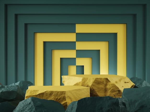 Vitrine do produto pedra verde cor amarela e forma quadrada conceito gráfico de pano de fundo renderização 3d