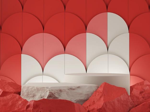 Vitrine do produto pedra vermelha tom tom branco e conceito gráfico abstrato do pano de fundo renderização 3d