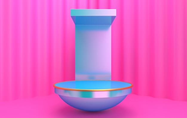 Vitrine minimalista com espaço vazio. design para apresentação de produtos em estilo moderno e moderno. renderização 3d.