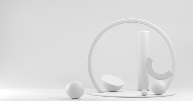 Vitrine minimalista com espaço vazio. pódio vazio para exibir o produto. renderização 3d.