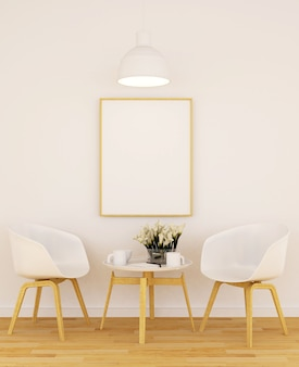Viver ou jantar e moldura para obras de arte em café ou galeria - renderização em 3d
