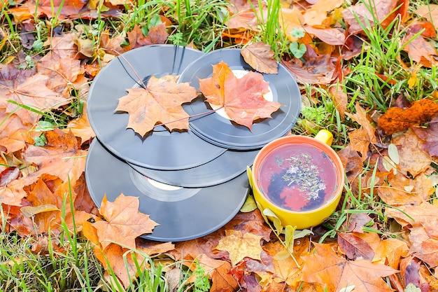 Vntage discos de vinil e xícara de chá de cerâmica nas folhas de outono.