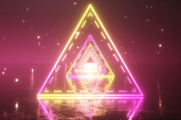 Voando através de triângulos de néon brilhante com piso de metal, criando um túnel com nevoeiro