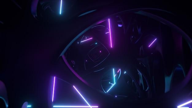 Voando através de uma estrutura alienígena abstrata iluminada por luzes de néon. iluminação ultravioleta moderna.