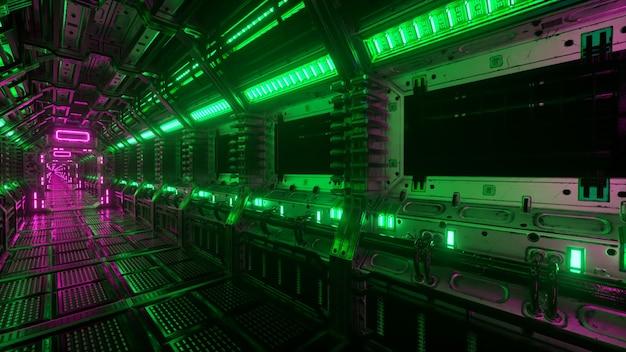 Voando em túnel de nave espacial, corredor de nave espacial de ficção científica. a tecnologia futurista abstrata vj perfeita para títulos e fundos técnicos. gráficos de tráfego da internet, velocidade. ilustração 3d