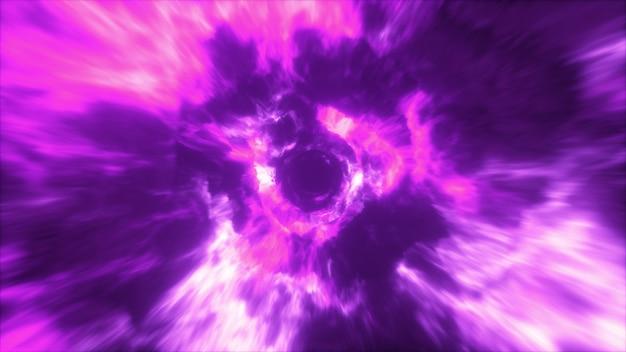 Voando em um túnel de energia abstrata colorido no espaço sideral