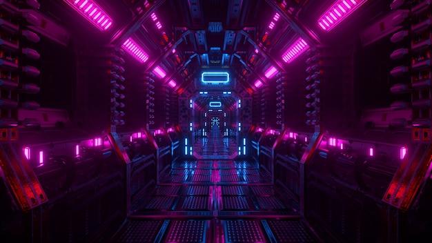 Voando em um túnel de nave espacial, um corredor de ônibus espacial de ficção científica. tecnologia abstrata futurista. tecnologia e conceito futuro. luz piscante. ilustração 3d