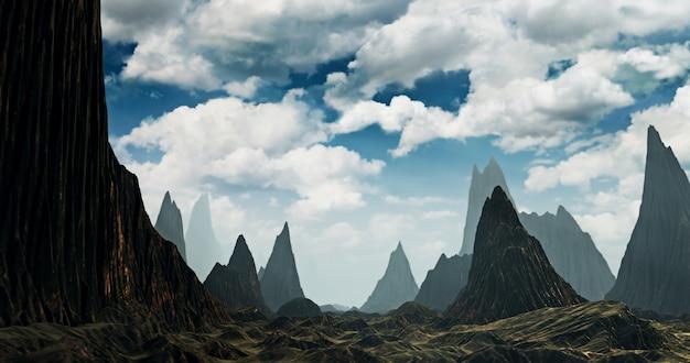 Voando na cena da paisagem e da natureza da montanha de pedra.