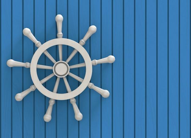 Volante de madeira branco no fundo da parede de painéis de madeira azul