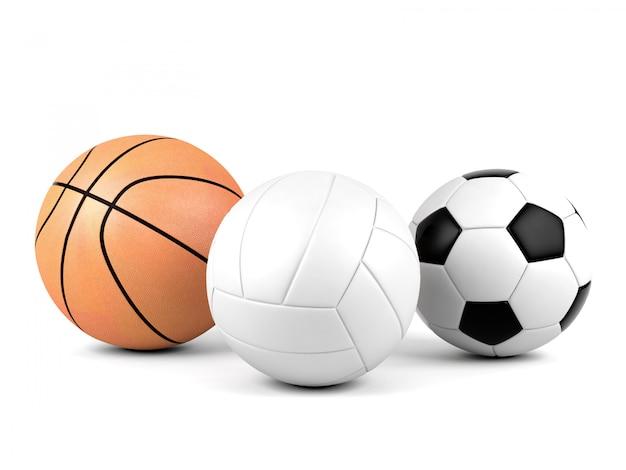 Vôlei, bola de futebol, basquete, bolas de esporte isoladas no fundo branco, renderização em 3d