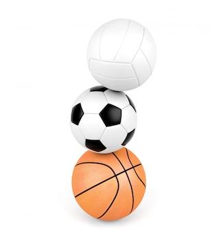 Vôlei, bola de futebol, basquete, bolas de esporte isoladas no fundo branco