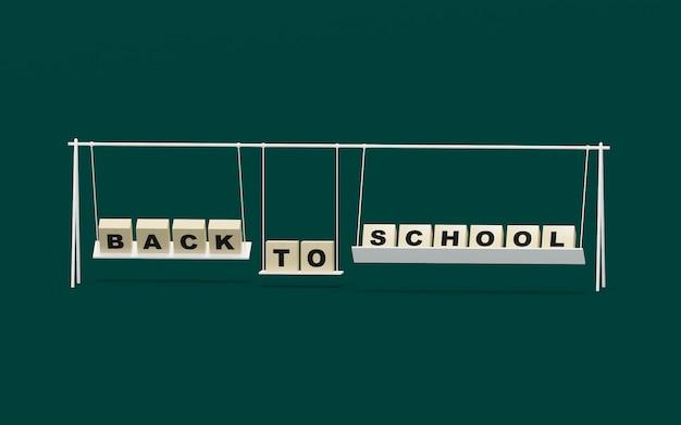 Volta para escola design nos balanços com fundo verde