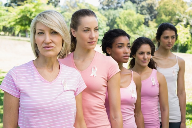 Voluntários confiantes que apoiam a consciência do câncer de mama