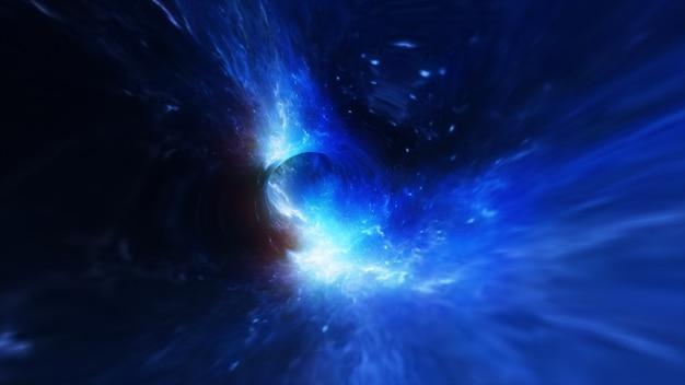 Vôo abstrato em um buraco negro no espaço