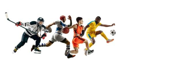 Voo alto. jovens desportistas correndo e pulando no fundo branco do estúdio. conceito de esporte, movimento, energia, estilo de vida saudável. treinar, praticar em movimento. folheto. hóquei, futebol, basquete.