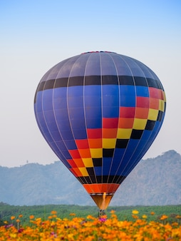 Voo colorido do balão de ar quente no parque de singh em chiang rai, tailândia.