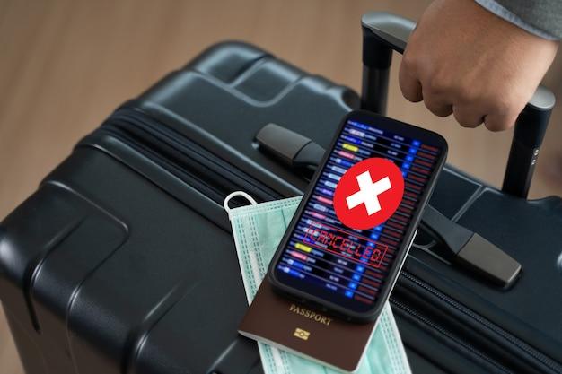 Vôos cancelados ou atrasados, transporte de passageiros de negócios, vôo de crise covid-19 cancelado e coronavírus sofrem