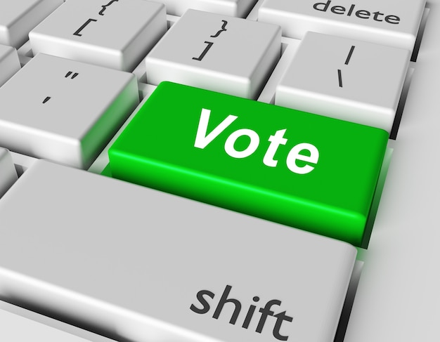 Votação de palavras no botão do teclado do computador
