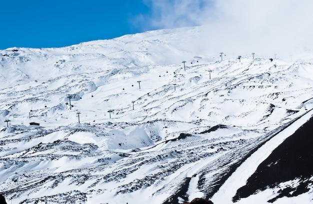 Vulcão etna. estância de esqui