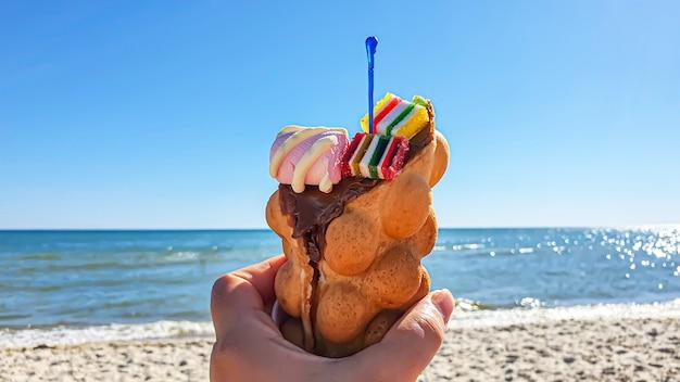 Wafer takanchik com sorvete e geléia