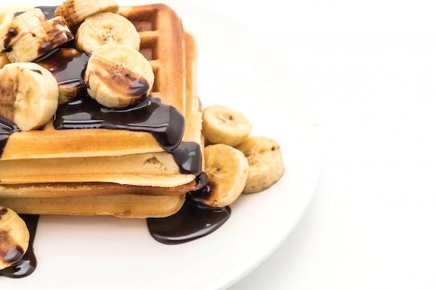 Waffle de banana com chocolate