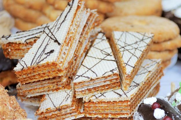 Waffle de pedaço de bolo close up