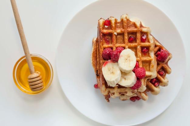 Waffle vista superior com mel