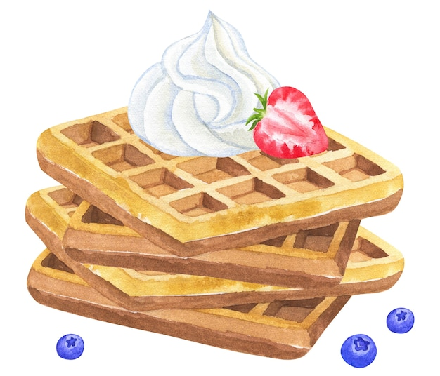 Waffles belgas com chantilly e morango e amora. mão-extraídas ilustração em aquarela. isolado.