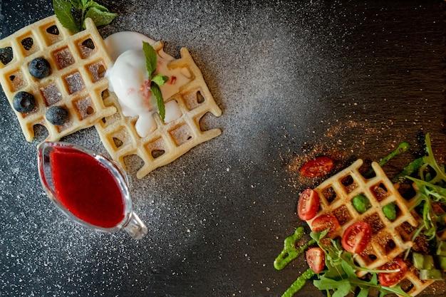 Waffles belgas frescos e salgados