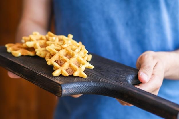 Waffles belgas natal ano novo sobremesa cozimento