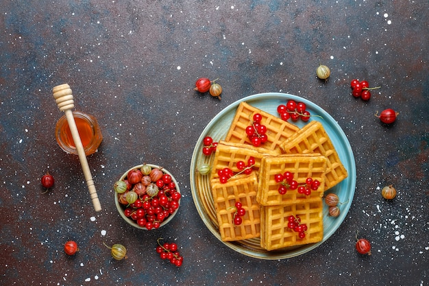 Waffles belgas quadrados com frutas de nêspera e mel.