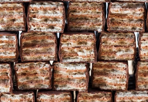 Waffles crocantes com recheio de chocolate