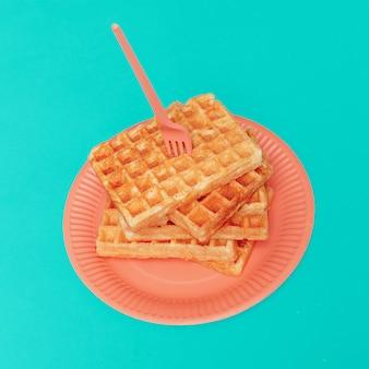 Waffles doces. galeria de arte de design minimalista