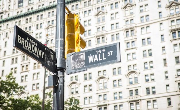 Wall street e broadway cruzam-se na cidade de nova york. placas de indicação de rua