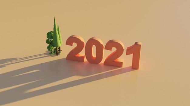 Walpaper renderização de números 3d de ano novo de 2021