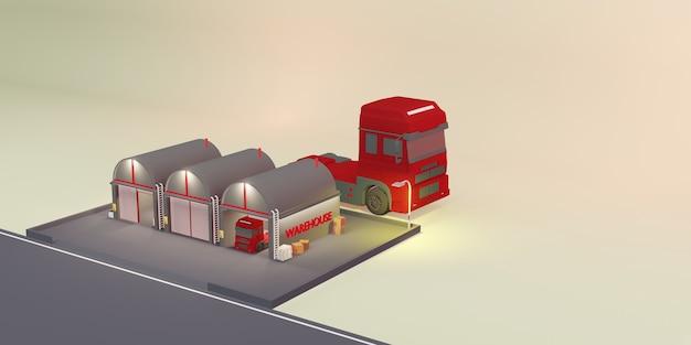 Warehouse logistic modern warehouse cartoon store ilustração 3d