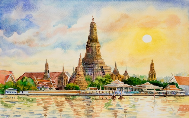 Wat arun temple no por do sol em banguecoque tailândia.
