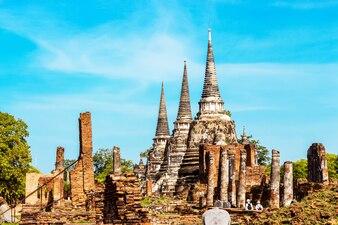 Wat Phra Si Sanphet é uma atração turística popular em Ayutthaya Tailândia.