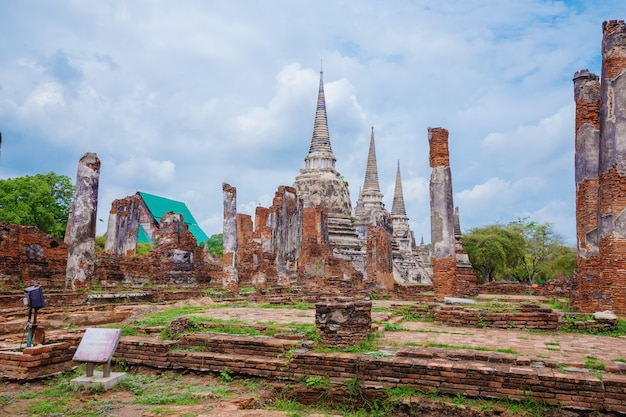Wat phra si sanphet no parque histórico de ayutthaya, tailândia