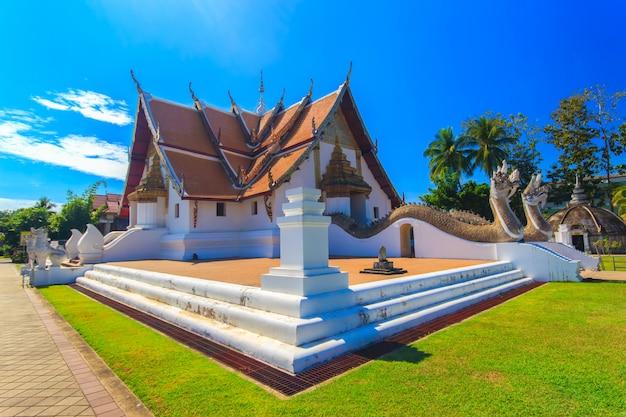 Wat phumin é um templo tradicional tailandês único com estilo lanna (norte da tailândia), província de nan, tailândia